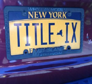 "New York license plate reading ""Title IX"""